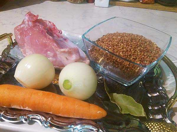первоначальный состав продуктов для каши гречневой с куриной грудкой